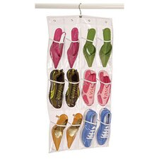 Clear Vinyl Storage 12 Pocket Shoe Caddy with Hanger