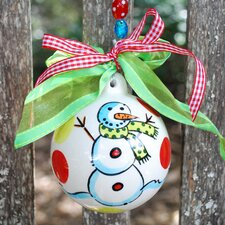 Snowman Red and Green Dots Ornament