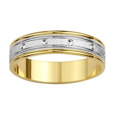 14k Two-tone Gold Men's Milgrain and Screw Design Easy Fit Wedding Band