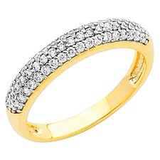 14K Gold Round Cubic Zirconia Band Ring
