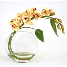 Silk Orchid Spray in Glass Disk Vase