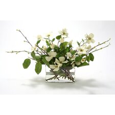 Silk Dogwood Branches in Glass Vase