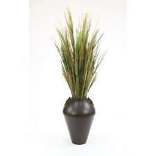 Mixed Faux Grasses in Floor Vase