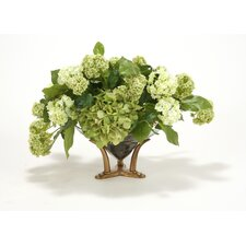 Silk Hydrangeas, Snowballs, and Lemon Leaf in a Bowl