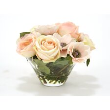 Waterlook Silk Roses and Anemones in Slope Sided Glass