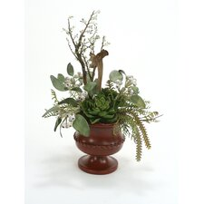 Mix of Faux Succulents, Eucalyptus Pods, Bonsai and Cactus in Classic Urn