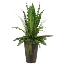 Silk Tropical Leaves with Grass and Palms in Rattan Floor Planter