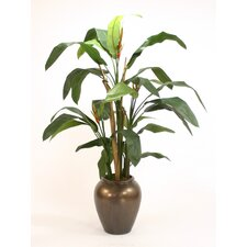 "84"" Heliconia Tree in Tall Stone Water Jar"