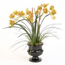 Silk Orchids, Arrorog and Grass in Classic Urn