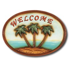 """Welcome"" Palm Trees Outdoor Sign"