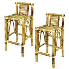 Bamboo Tiki Bar Stool (Set of 2)