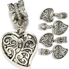 Fancy Heart Bead Charm
