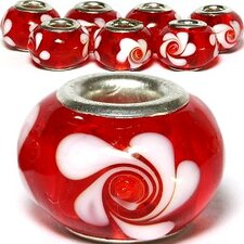Flowers Swirl Glass Bead (Set of 3)