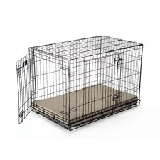 Luxury Memory Foam Dog Crate Pad with Taupe Suede Microfiber Cover