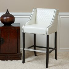 Milano Bonded Leather Quilted Barstool in Ivory