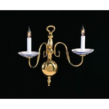 Historical Brass 2 Light Italian Hand Painted Wall Sconce