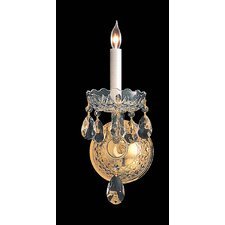 Bohemian Crystal 1 Light Wall Sconce with Round Back Plate