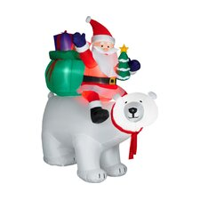 Airblown Santa Sitting on Polar Bear Scene