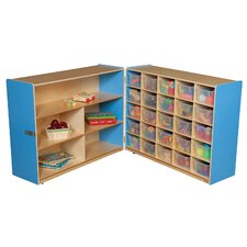 Tray and Shelf Fold Storage Unit with 25 Clear Trays
