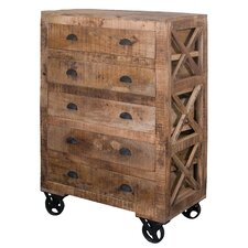5 Drawer Accent Chest with Wheel