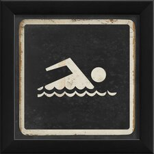Swimming Sign Black Wall Art