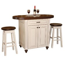 Racheal Kitchen Island Set with Wood Stop