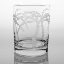 Palm Tree 14 Oz DOF Glass (Set of 4)