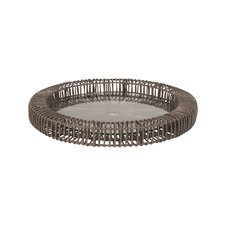 Wicker Spoke Round Serving Tray
