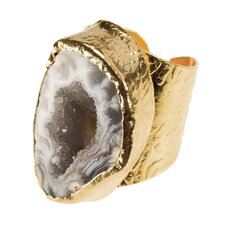 24K Gold Oval Agate Cigar Ring