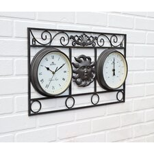 Frame Sun Wall Clock with Thermometer
