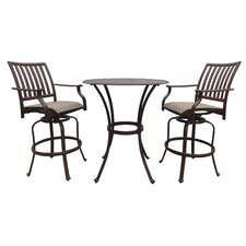 Island Breeze 3 Piece Slatted Pub Dining Set