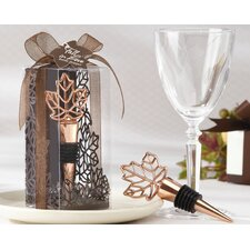 ''Lustrous Leaf'' Bottle Stopper in Laser-Cut Leaf Gift Box