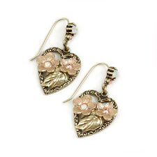 Heart Floral Drop Earrings