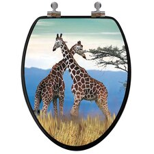 3D Series Giraffes Elongated Toilet Seat
