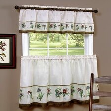Botantical Rod Pocket Tailored Valance and Tier Set