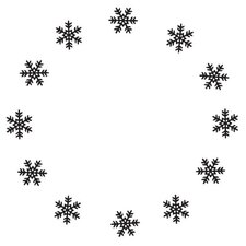 Mounted Rubber Snowflake Circle Stamp