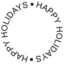 Mounted Rubber Happy Holiday Circle Stamp
