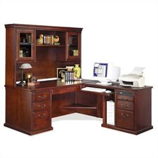 Huntington Club Right L-Shape Executive Desk with Hutch Top