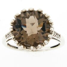 Sterling Silver Smokey Topaz and Diamond Accent Ring