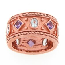 Sterling Silver Amethyst and Aqua Byzantine Band Ring