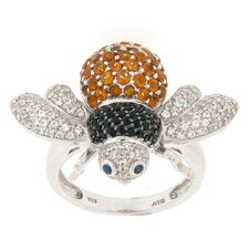 Sterling Silver Round Multi Stone Bee Ring