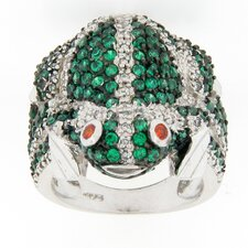 Sterling Silver Round Multi Stone Frog Ring