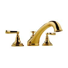 Double Handle Deck Mount Roman Tub Faucet with Lever Handle