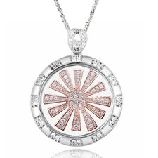 Two-Tone Sterling Silver Pinwheel Gemstone Necklace
