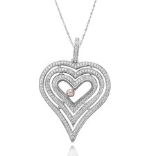 Two-Tone Sterling Silver Heart Gemstone Necklace