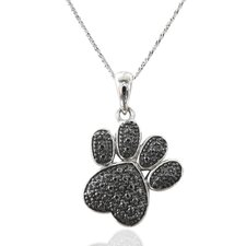 Sterling Silver Black Diamond Footmark Necklace