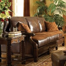 Windsor Court Wood Trim Leather Loveseat