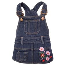 Cute Denim Dog Dress with Embroidered Flowers and Pockets