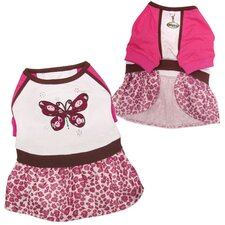 Beautiful Sparkling Butterfly Dog Dress with Leopard Print Skirt