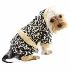 Adorable Leopard Print Fleece Hooded Dog Bodysuit